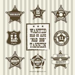 Insignias de ayudante del sheriff vintage