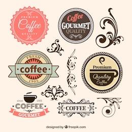 Insignias de café en estilo retro