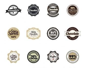 insignias de chocolate de vectores