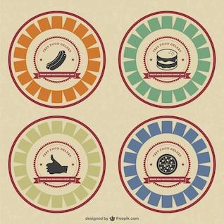 Insignias de comida de estilo retro
