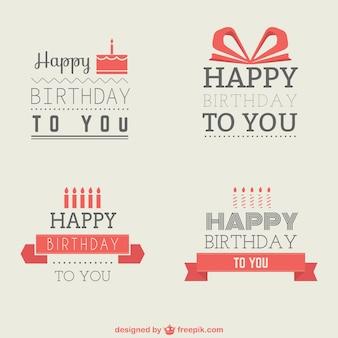 Insignias de cumpleaños minimalistas