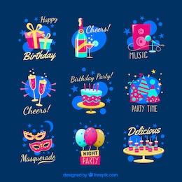 Insignias de fiesta de dibujos animados