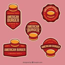 Insignias de hamburguesas americanas