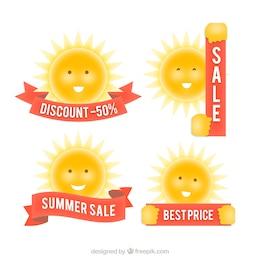 Insignias de la venta con el sol