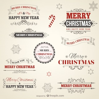 Insignias de Navidad estilo retro