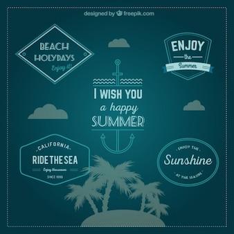 Insignias de vacaciones en la playa