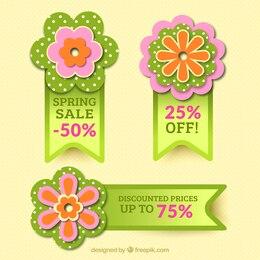 Insignias florales para ventas de primavera