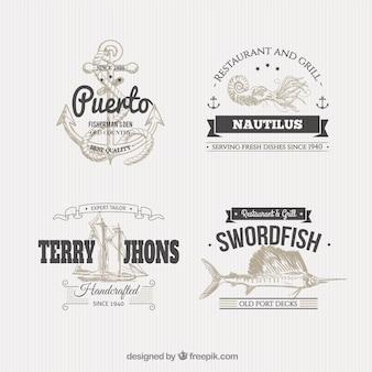 Insignias náuticas en estilo de ilustración
