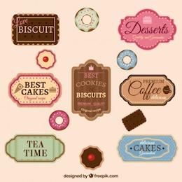 Insignias retro para panadería o cafetería