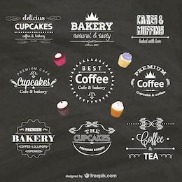 Insignias vectoriales de cafetería y confitería