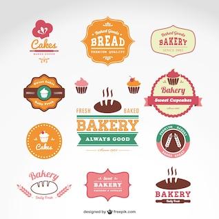 Insignias vectoriales de panadería y confitería