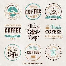 Insignias vintage de las casas de café