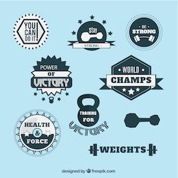 Insignias vintage de levantamiento de pesas