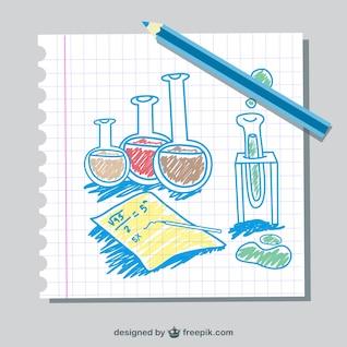 Instrumentos de ciencia dibujados a mano