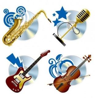 Instrumentos musicales brillantes con formas azules