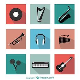 Instrumentos musicales vectoriales