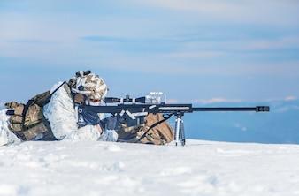 Invierno, ártico, montañas, guerra