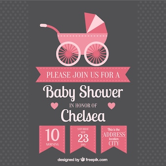 Invitación de bienvenida del bebé con carrito de bebé