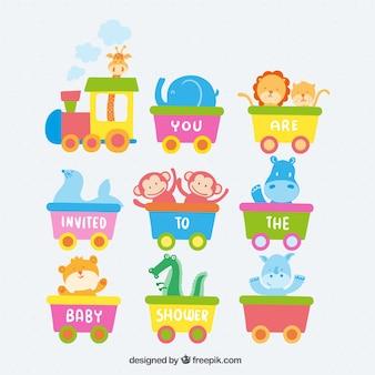 Invitación de bienvenida del bebé con un tren y los animales