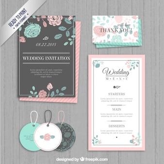 Invitación de boda, etiquetas y menú