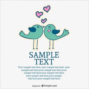 Invitación de boda con dibujos de pájaros