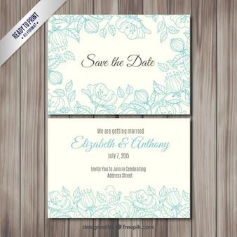 Invitación de boda con flores incompletas