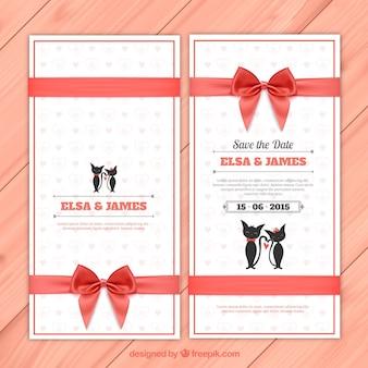 Invitación de boda con gatos monos