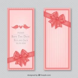 Invitación de boda con lazo rosa
