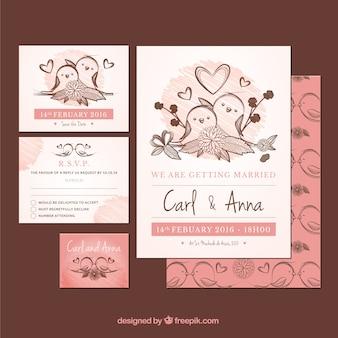 invitación de boda con pájaros dibujados a mano