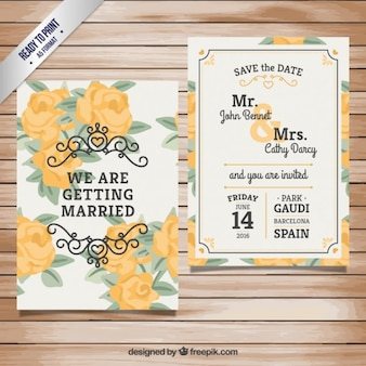 Invitación de boda con rosas amarillas