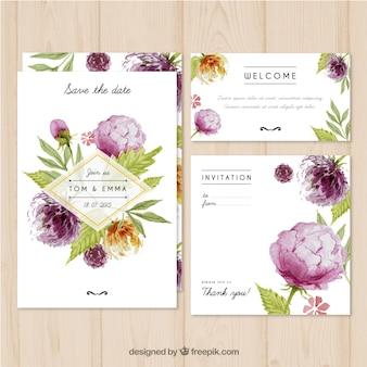 Invitación de boda de acuarela con flores