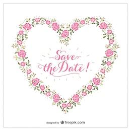 Invitación de corazón floral