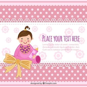 Invitación de la bienvenida del bebé con un bebé niña