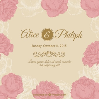 Invitación de la boda floral retro