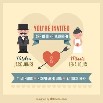 Invitación de la boda linda del vintage