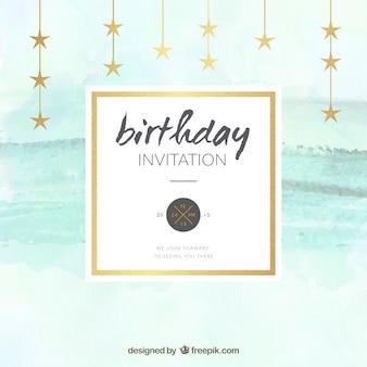 Invitación del cumpleaños de acuarela con estrellas