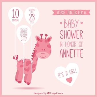 Invitación rosa de bienvenida del bebé con jirafa