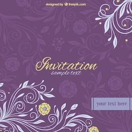 Invitación vintage con adornos florales