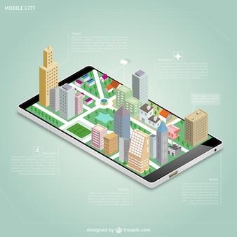 Ciudad isométrica en una pantalla de móvil