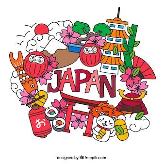 Letras Japón con elementos tradicionales
