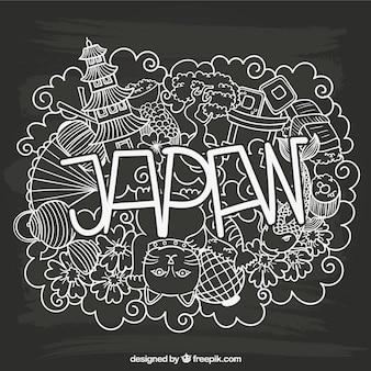 Letras Japón con elementos esbozados