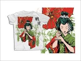 japonés geisha t plantilla de la camisa