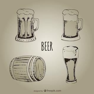 Jarras de cerveza y vasos