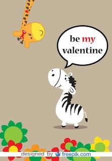 Jirafa y cebra vector de amor tarjeta del día de San Valentín