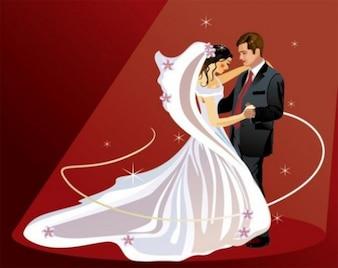 Joven pareja bailando sobre fondo rojo