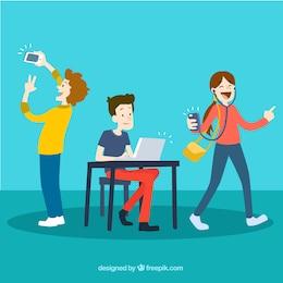Jóvenes utilizando la tecnología