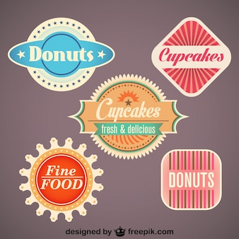 Juego de etiquetas retro de alimentos