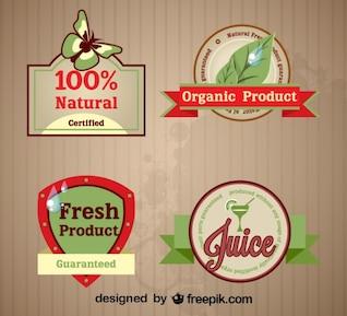 Juego de etiquetas retro de productos orgánicos frescos