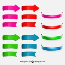 Juego de flechas y cintas circulares de colores