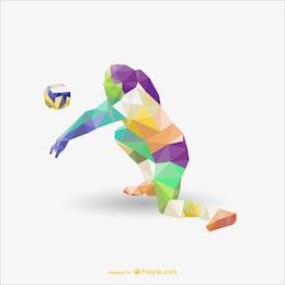 Jugador de voleyball poligonal